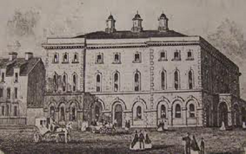 The Albert Hall in the middle of the 19th Century -Houses on the left were later replaced with Dynevor Grammar School