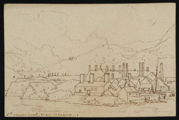 A Large Copper-Smelting Works at Swansea (Perhaps the Copper Works at Landore on the River Tawe, North of Swansea) 1786 or 1800 by Philip James De Loutherbourg 1740-1812