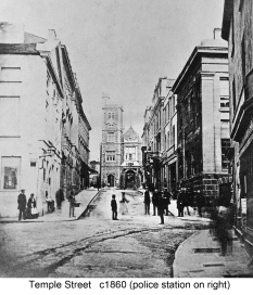 Temple street around 1860, note the Police station to the right in Goat Street