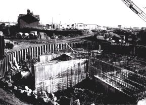 Foundations for WGCC County Hall in Swansea in the 1970s