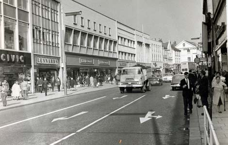 a clean modern High Street Swansea pictured in 1964