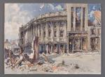 A painting depicting Temple Street Swansea in 1941 following the blitz of the town centre