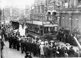 Tram in Castle Street 1920, a workers demonstration in progress