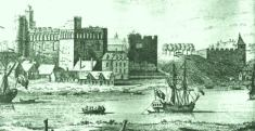 Swansea Castle in the 18th Century from the river which was later dammed to become the North Dock