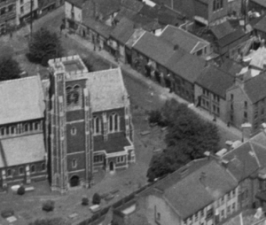 The parish church St Marys in the 1930s showing Cross, Fisher and Frog streets