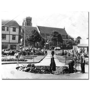 Building the fountain in the late 1950s