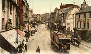 High street swansea with Tram