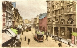 High Street Swansea showing the Cameron Hotel and local tram