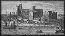 Early view of swansea castle from the riverside