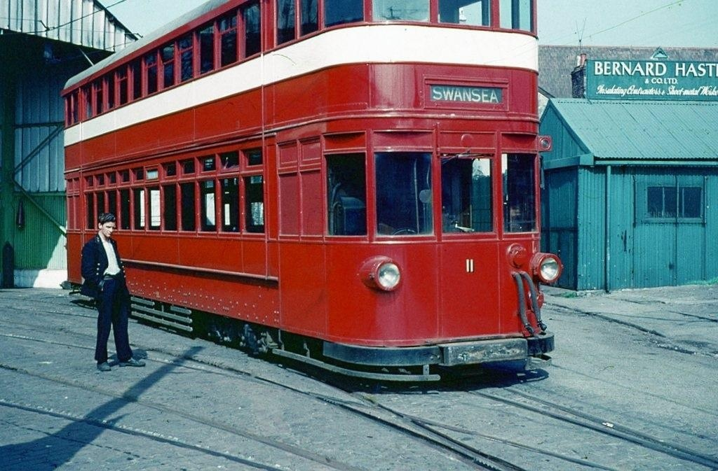 Electric tram at Rutland Street swansea