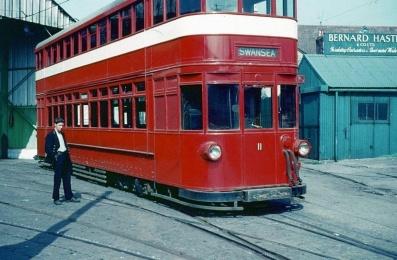 Electric tram at Rutland Street swansea