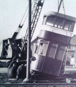 Removing a coach for display at the Museum
