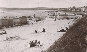 The beach at Swansea with Bathing Machines
