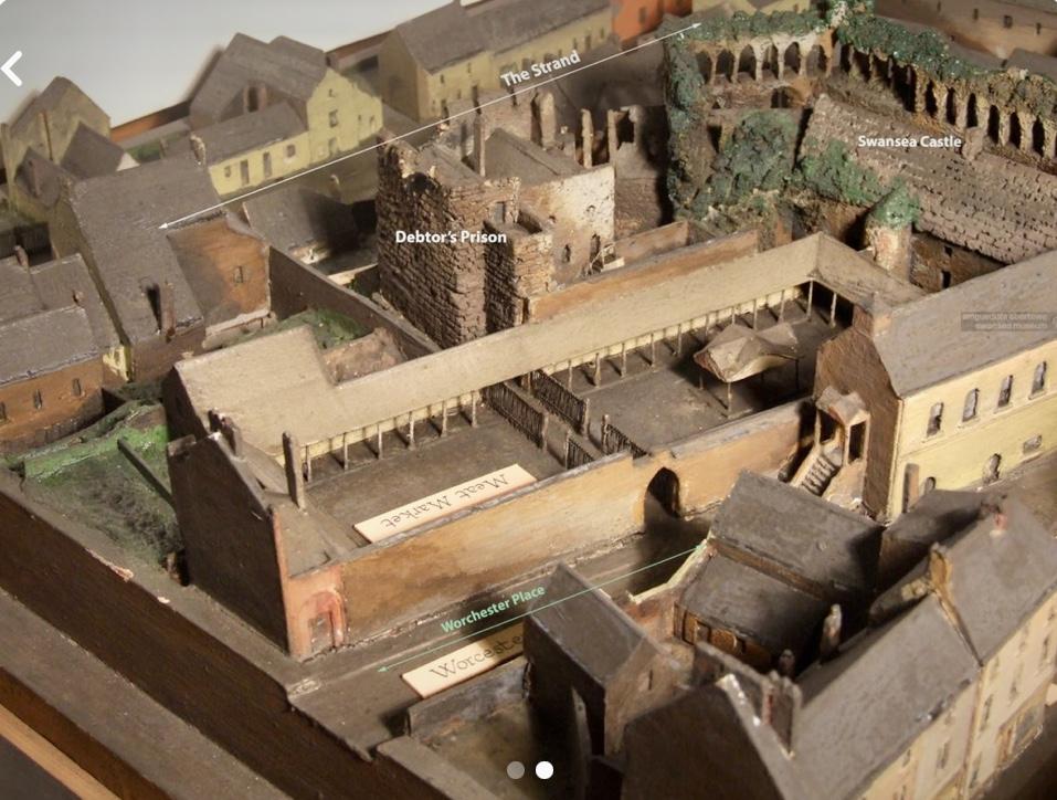 Swansea castle model depicting 1840